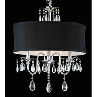 Chrome 3-light Black Shade Crystal Chandelier C3LBSC13291