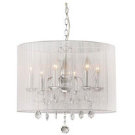 Chrome and Cream 6-light Crystal Chandelier CAC6LC13691