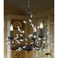 3-Light Iron and Crystal Chandelier IC3LCB64