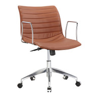 Light Brown Faux Leather Modern Mid-Century Style Mid-Back Office Chair with Arms LBOFCH987715