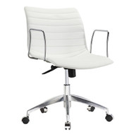 White Faux Leather Modern Mid-Century Office Chair with Curved Mid-Back Seat and Arms MBLOFC519812