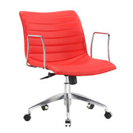 Red Faux Leather Upholstered Mid-century Modern Mid-Back Office Chair RMCMBOFC5874114