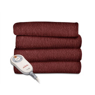 Garnet Red Soft Warm Fleece Electric Heated Throw Blanket SFHT5198415
