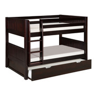 Solid Wood Modern Twin over Twin Bunk Bed with Trundle in Cappuccino SWN5198456
