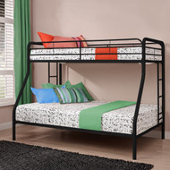 Twin over Full size Bunk Bed in Sturdy Black Metal DTOFB172