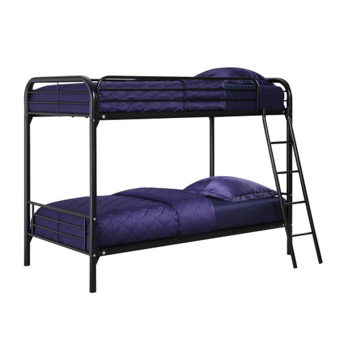 Twin over Twin Bunk Bed with Ladder in Black Metal DHPTOTB179