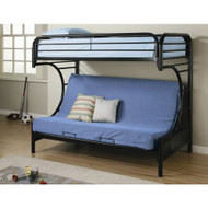 Black Metal Twin over Full Futon Bunk Bed with Built-in Ladder FCTOFB387