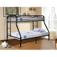 Twin over Full size Sturdy Black Metal Bunk Bed with Ladder STOV581984