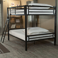 Full over Full Bunk Bed with Ladder and Safety Rails in Black Metal Finish DHFFB65181