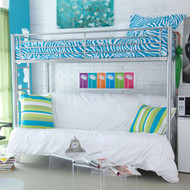 Twin over Full size Futon Bunk Bed in Modern Silver Metal Finish DWTOF651581