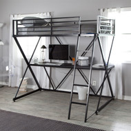 Modern Black Metal Twin size Bunk Bed Loft with Desk and Ladder DZB6518941