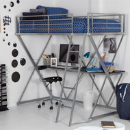 Modern Bunk Bed style Twin Loft Bed with Desk in Silver Metal Finish MLBS65181