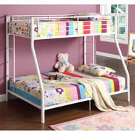 White Twin over Full Metal Bunk Bed SWTODB