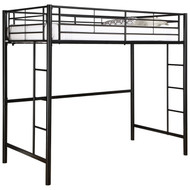 Tubular Steel Twin Size Loft Bunk Bed in Black WDSMTLBB18397