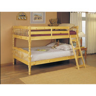 Full Over Full Bunk Bed with Ladder in Natural Light Wood Finish AHFB45980