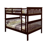 Solid Wood Full Over Full Bunk Bed in Cappuccino Finish DBF39661
