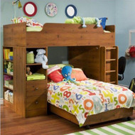 Sunny Pine Twin over Twin L-Shaped Bunk Bed with Storage STOFBSP814