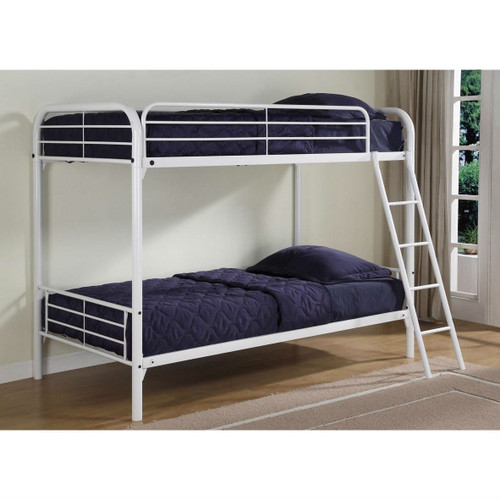 Twin over Twin size Sturdy Metal Bunk Bed in White DTOTWB173