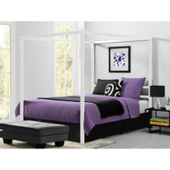 Queen size Modern White Metal Canopy Bed - No Box-Springs Required WQCB510981