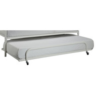 Twin size Roll Out Trundle Bed Frame in White Metal WTROT1053
