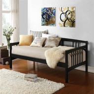 Twin size Black Solid Wood Day Bed Frame with Wooden Slats BKDB49851481