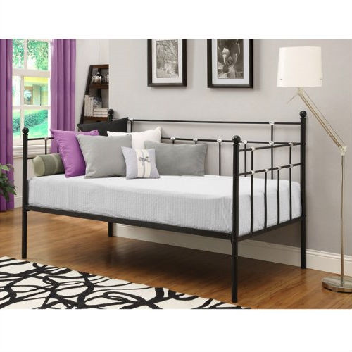 Twin size Black Metal Daybed with Chrome Detailing TMDB1684156
