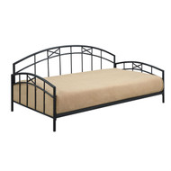 Twin size Black Metal Daybed Frame with Decorative Rails DAMDB149