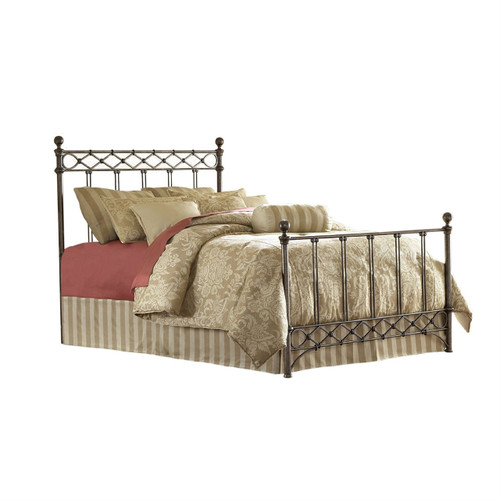 King size Metal Bed with Headboard and Footboard in Copper Chrome Finish AMB459