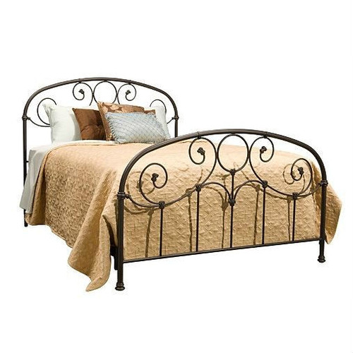 Full size Metal Bed with Softly Rounded Shoulders in Rusty Gold Finish FBGGFB252