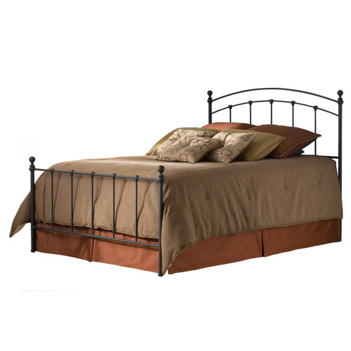 Full size Metal Bed with Headboard and Footboard in Matte Black FBGSBF2069