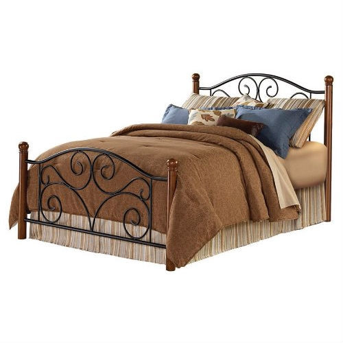 Full size Metal Bed with Sturdy Wood Posts in Matte Black Walnut Finish FDMB18750