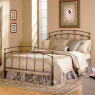 King size Metal Bed with Headboard and Footboard in Black Walnut Finish FKMB28494