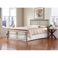 Full size Contemporary Metal Bed in Silver / Cherry Finish FSCMB283
