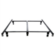 King size Heavy Duty Metal Bed Frame with Locking Rug Roller Casters Wheels KSLBF519815