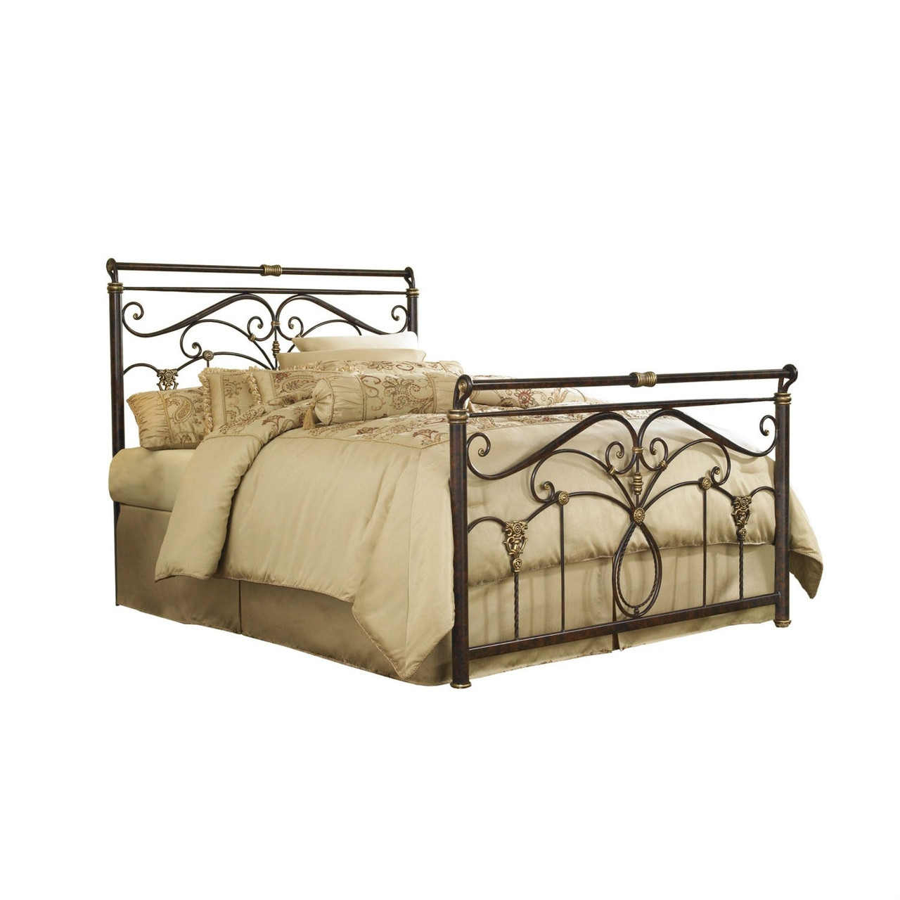 - Queen Size Metal Sleigh Bed In Marbled Russet Finish