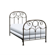 Twin size Metal Bed Frame with Headboard and Footboard in Rusty Gold Finish TGBFBG198
