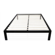 Full size Simple Black Metal Bed Frame Platform with Wooden Slats FOSMB51981