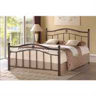 Full size Metal Platform Bed with Headboard and Footboard in Brushed Bronze FMPB518416