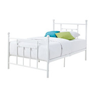 Full size White Metal Platform Bed with Headboard and Footboard FWMP518815