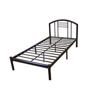 Full size Metal Platform Bed Frame with Headboard in Bronze Finish HMBF14340