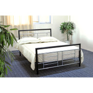 Queen size Metal Platform Bed w/Headboard and Footboard in Black Silver Finish QMPB12517741
