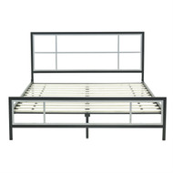 Full size Modern Metal Platform Bed Fame with Headboard Footboard and Wood Slats FMPBS35154514