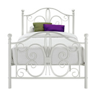 Twin White Metal Platform Bed Frame with Headboard and Footboard TWMB129