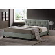Queen size Gray Linen Upholstered Platform Bed with Headboard BSQG31642