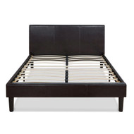 Queen size Modern Platform Bed w/Dark Brown Upholstered Faux Leather Headboard QFLPB6518458