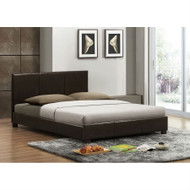 Queen size Brown Faux Leather Upholstered Platform Bed Frame with Headboard UPB51981456