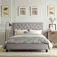 Queen size Gray Linen Upholstered Platform Bed with Button Tufted Headboard BUPQC519851