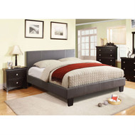 Queen size Platform Bed with Headboard Upholstered in Gray Faux Leather FMLGPB2779