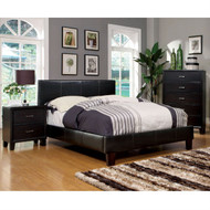 Full size Faux Leather Upholstered Platform Bed in Dark Espresso FSB26791