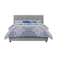 Full size Grey Padded Linen Upholstered Platform Bed with Headboard RUPB198565481
